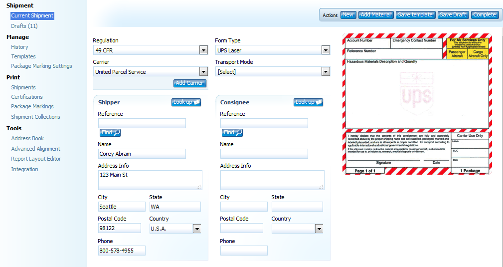 Starting a Shipment – Labelmaster Software Knowledge Center